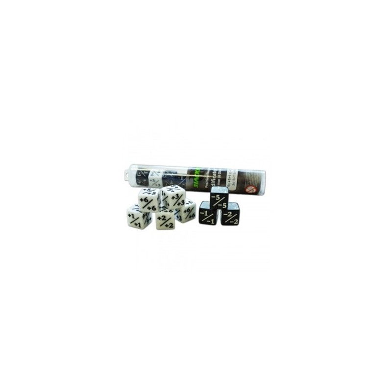 mighty-games-Dice tube Blackfire : Positive/Negative Dice D6 of 16 mm (8 Dice per Tube)
