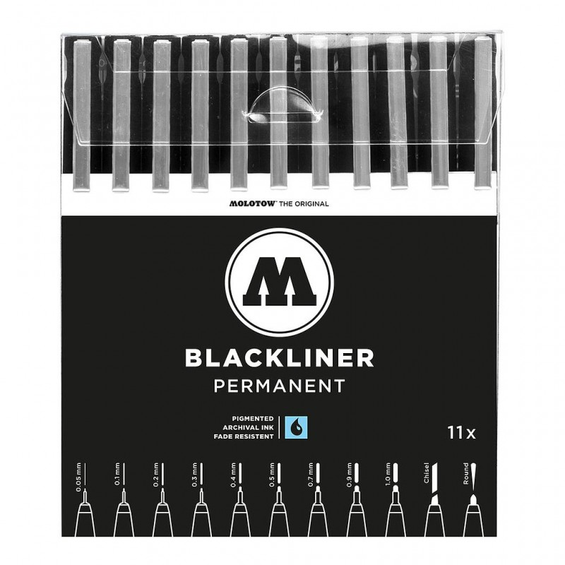 mighty-games-Set complet 11 Blackliner - MOLOTOW - toutes tailles - 12.4 cm